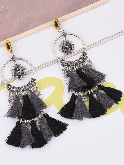 Sunflower Tassel Round Drop Earrings - BLACK  Mobile