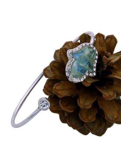 Faux Gemstone Rhinestone Palm Cuff Bracelet - SILVER  Mobile