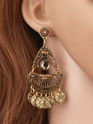 Hollowed Geometry Coin Tassel Earrings - Golden