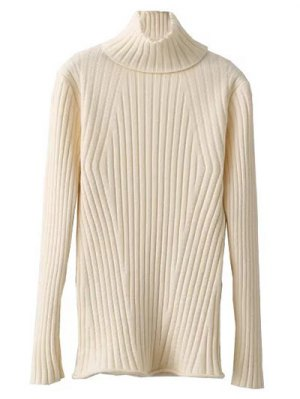 Ribbed Roll Neck Jumper - Off-white