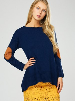Elbow Patch Asymmetric Pullover Sweater - Purplish Blue