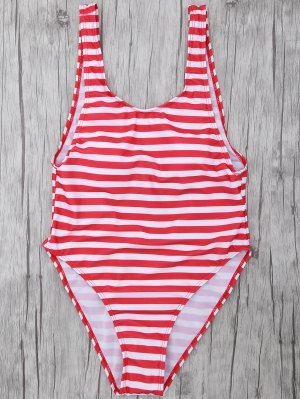 Stripe Drop Armhole Swimsuit - Red With White