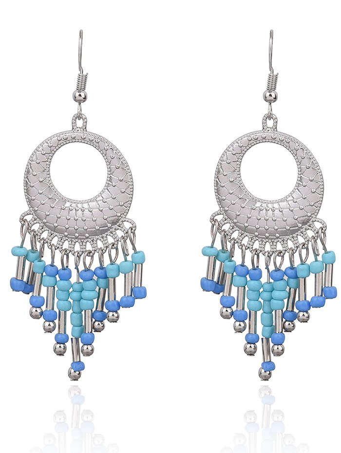 Hollow Out Beads Hook EarringsAccessories<br><br><br>Color: LIGHT BLUE