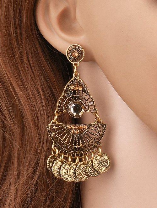 Coin Tassel Hollowed Geometry Earrings