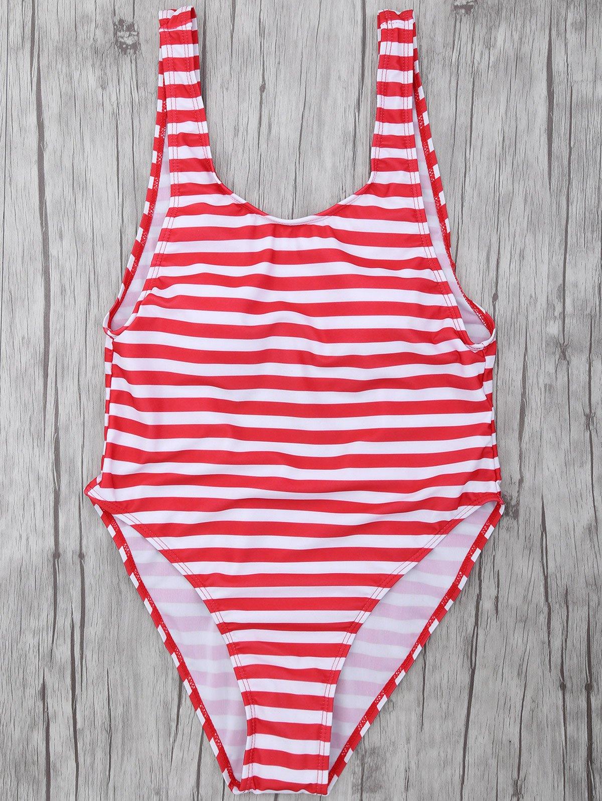 Striped High Leg Swimsuit