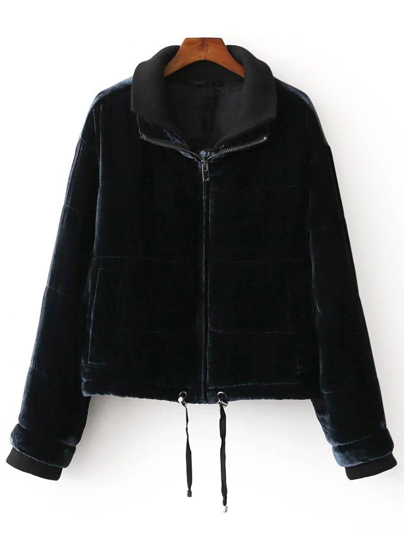 Layered Collar Velvet Jacket