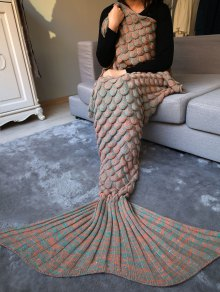 Fish Scale Knit Long Mermaid Blanket Throw