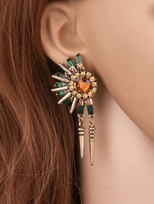 Rhinestone Floral Rivet Tassel Earrings - Golden