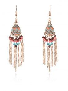 Beads Chain Tassel Drop Earrings