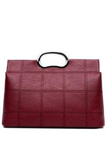 Grid Stitching PU Leather Handbag
