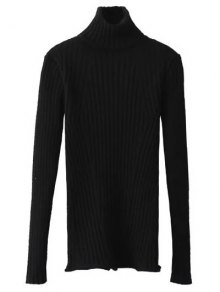 Ribbed Roll Neck Jumper - Black