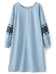 Denim Embroidered Tunic Dress - Light Blue L