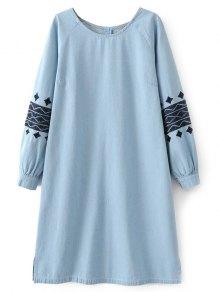 الفستان الطويل بدميم التطريز - الضوء الأزرق L