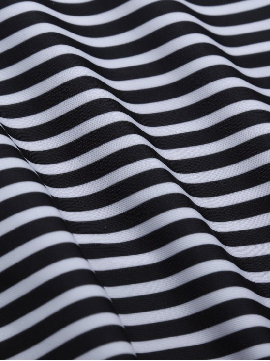 Striped High Waisted Bikini Set - BLACK M Mobile