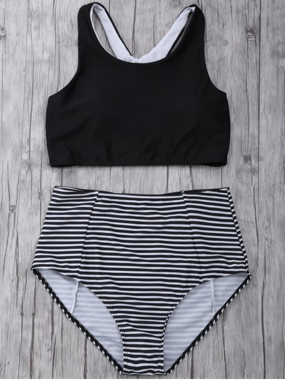 Striped High Waisted Bikini Set - BLACK S Mobile