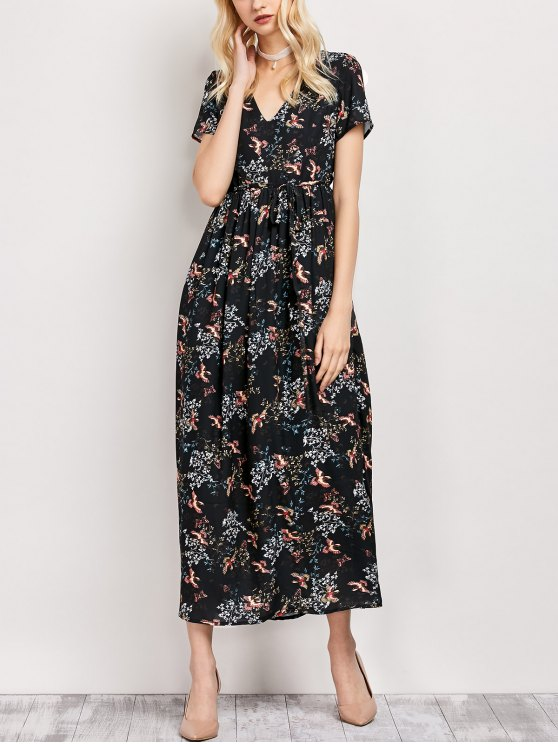 Tiny floral V vestido maxi cuello - Negro M