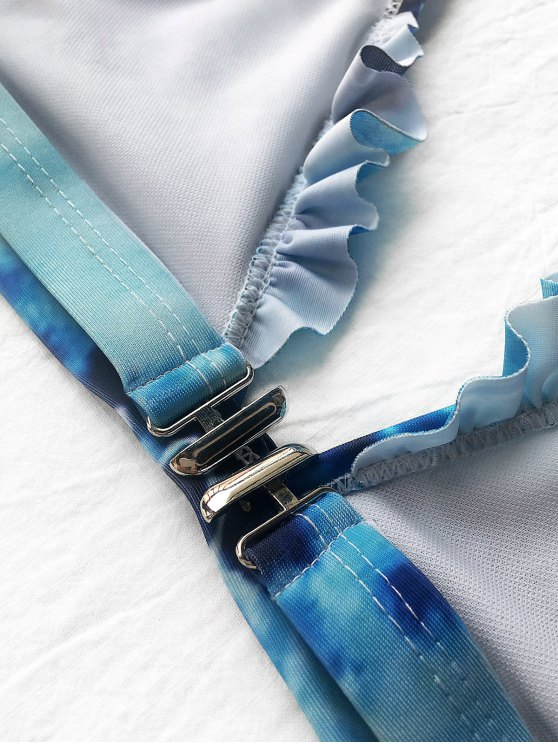 Frilled Plunge Thong Bikini Set - BLUE XL Mobile
