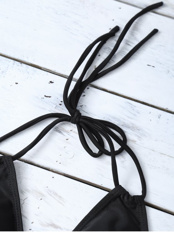 Halter Cutout Stripe Panel Bikini Set - WHITE AND BLACK L Mobile