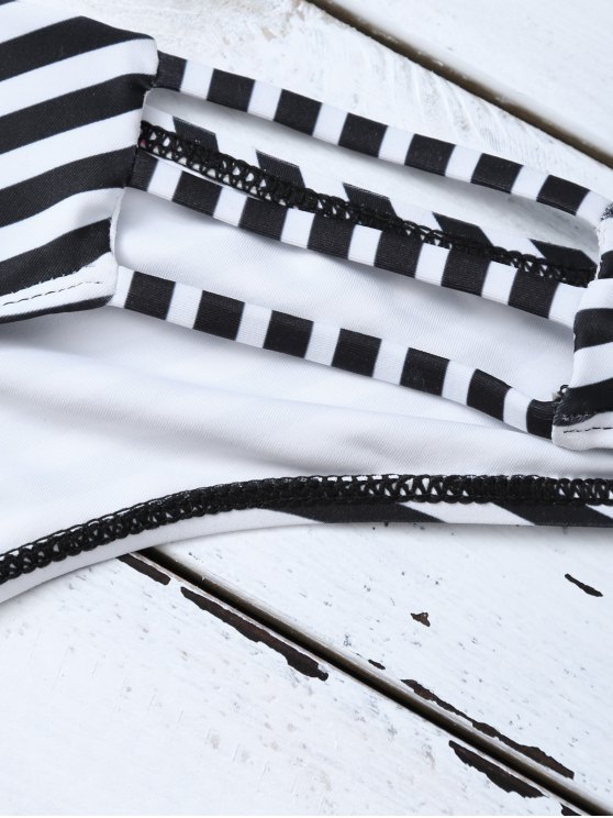 Halter Cutout Stripe Panel Bikini Set - WHITE AND BLACK S Mobile