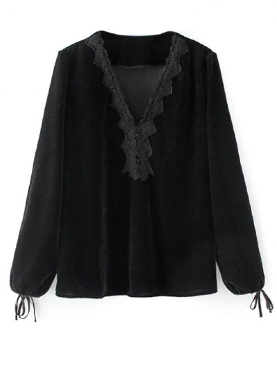 Long Lantern Sleeve Velvet Blouse - BLACK M Mobile