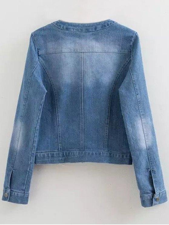 Round Neck Denim Jacket with Pockets - DENIM BLUE S Mobile