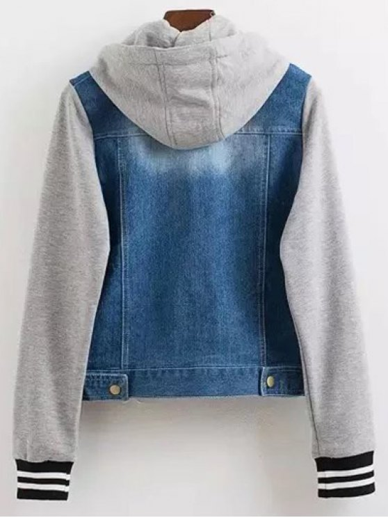Hooded Buttoned Denim Jacket - BLUE S Mobile