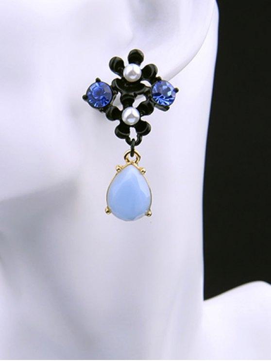 Faux Pearl Rhinestone Teardrop Flower Earrings -   Mobile
