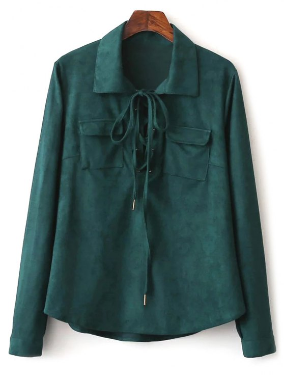 Faux Suede Lacing Pussy Bow Blouse - DEEP GREEN L Mobile