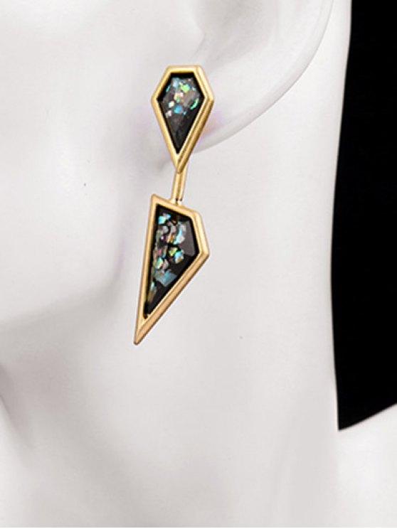 Geometric Faux Gemstone Drop Earrings - GOLDEN  Mobile