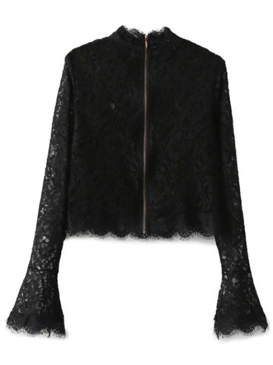 Belled Sleeve Mock Neck Lace Top - BLACK L Mobile