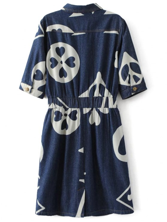 Denim Printed Shirt Dress - BLUE S Mobile