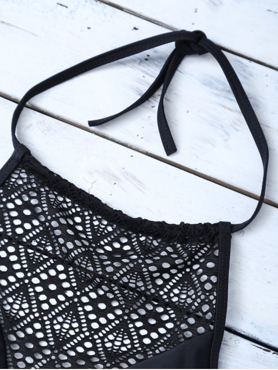 Lace Panel Cut Out Bikini Set - BLACK M Mobile