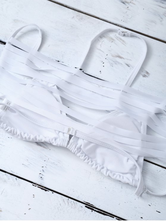 Strappy Cutout Bikini Set - WHITE L Mobile
