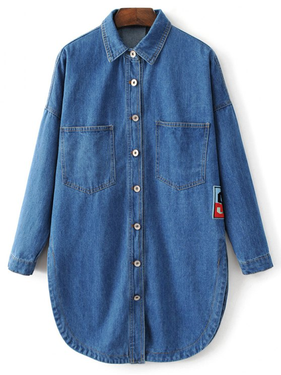 Pocket Cartoon Patch Jean Shirt - DENIM BLUE M Mobile