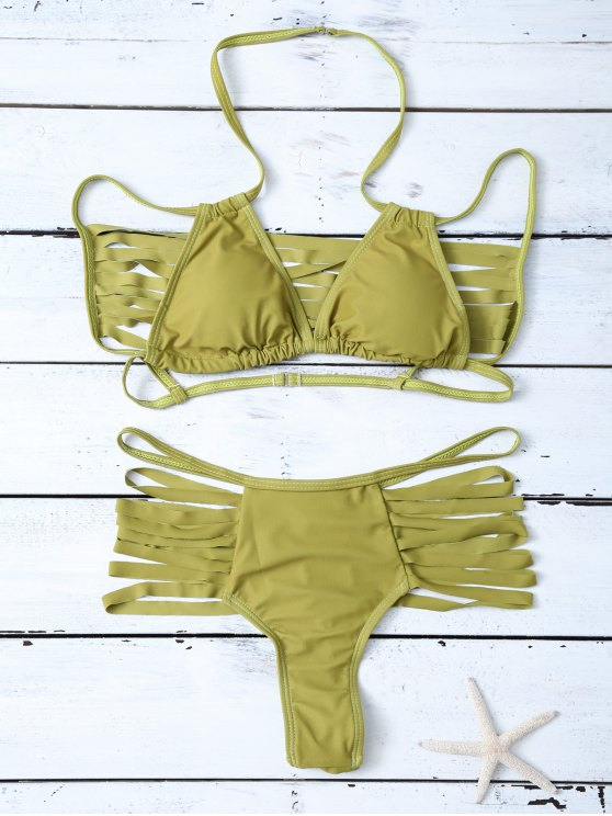 High Leg Strappy Cutout Bikini Set - GREEN L Mobile