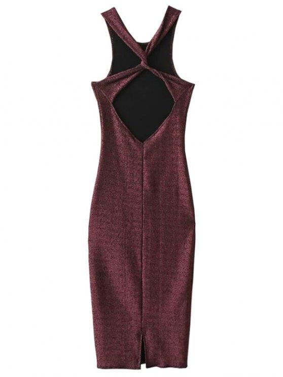 Glitter Midi Pencil Dress - CLARET S Mobile