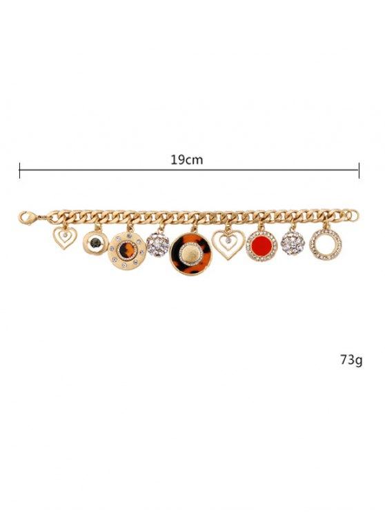 Rhinestone Circle Heart Charm Bracelet -   Mobile