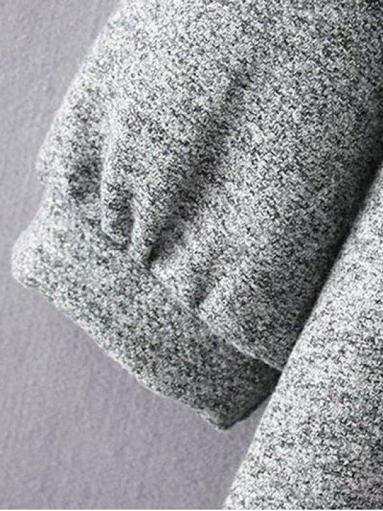 Knit Panel Trapeze Tweed Dress - GRAY 2XL Mobile