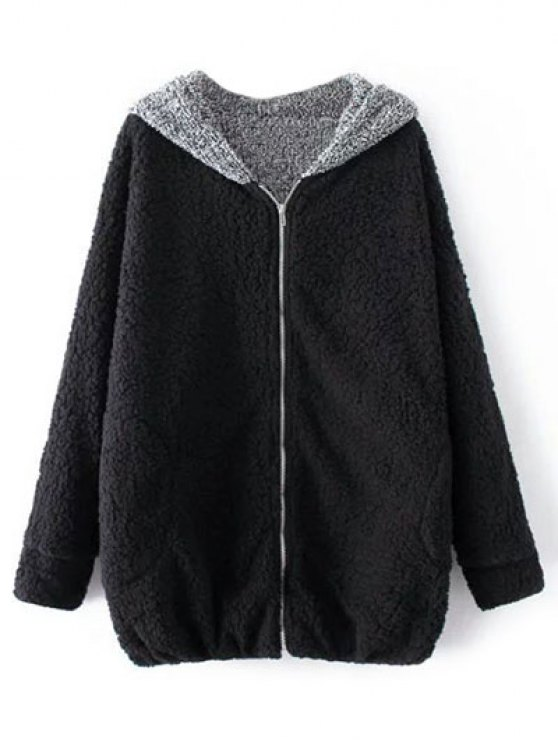 Cartoon Hooded Zipper Sherpa Coat - BLACK ONE SIZE Mobile