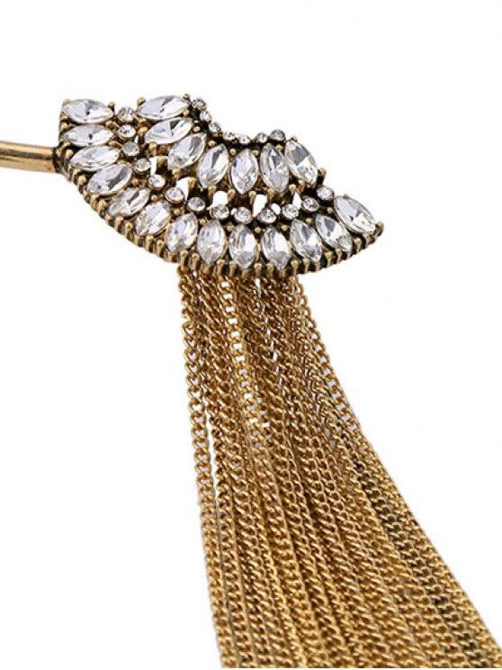 Fringed Rhinestone Torques Necklace - GOLDEN  Mobile