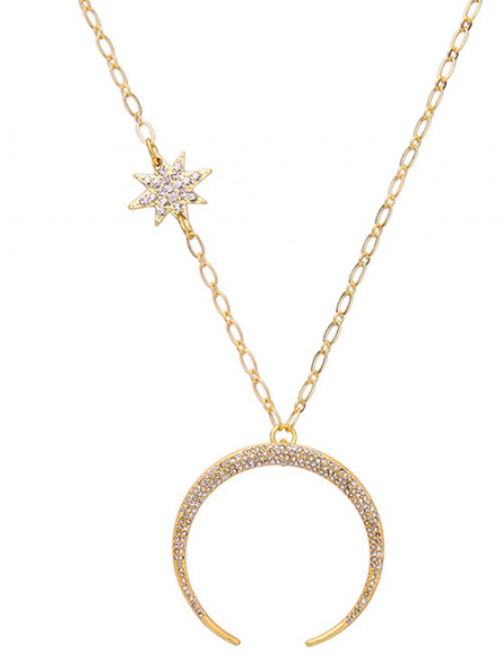 Rhinestoned Star Moon Pendant Necklace - GOLDEN  Mobile