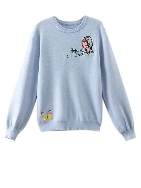 Animal Embroidered Fuzzy Sweater - LIGHT BLUE M Mobile