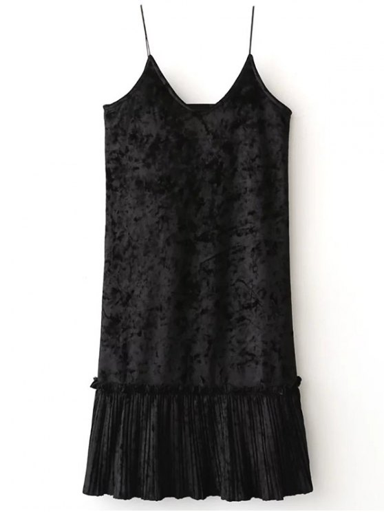 Pleuche Pleated Cami Dress - BLACK ONE SIZE Mobile
