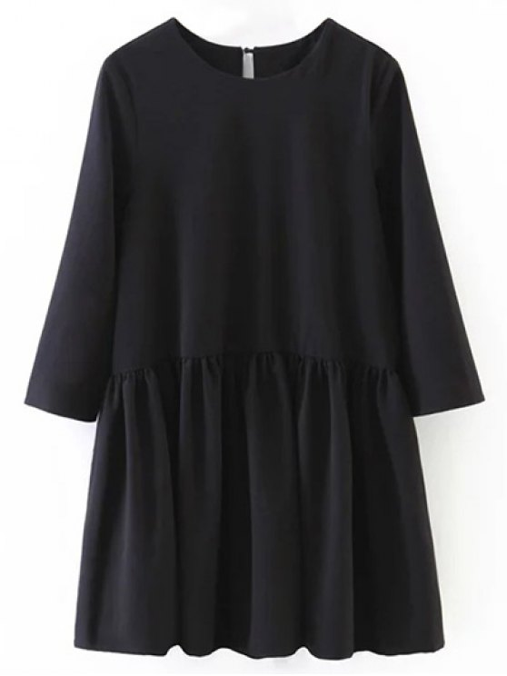 Flounce Ruffles Oversized Blouse - BLACK S Mobile