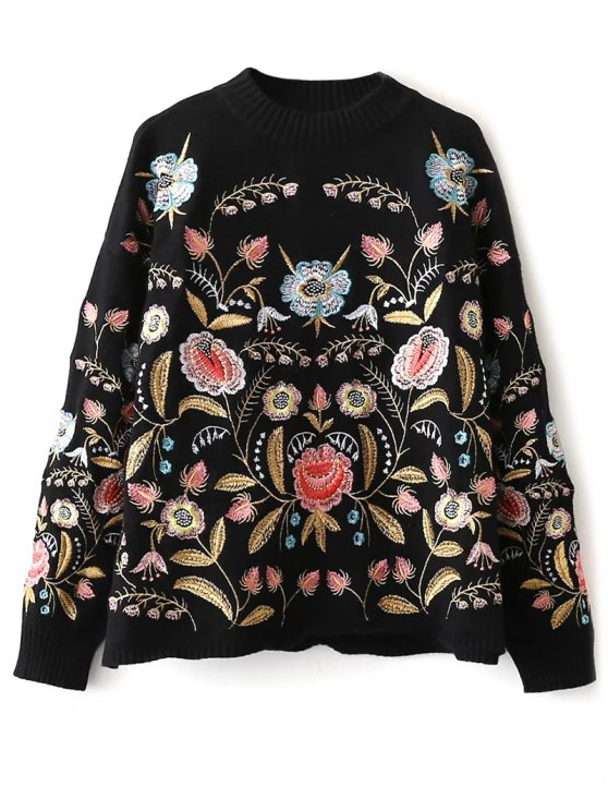 ladies Floral Embroidered Sweater - BLACK ONE SIZE