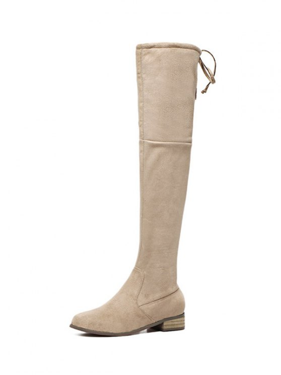 Flat Heel Zip Tie Up Thigh Boots - APRICOT 38 Mobile