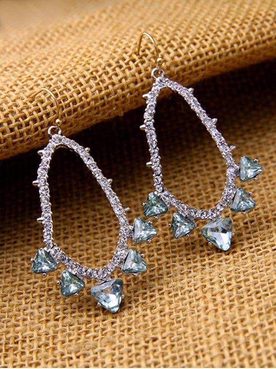 Rhinestoned Artificial Gem Earrings - SILVER  Mobile