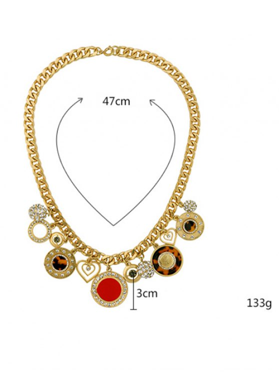 Rhinestone Heart Circle Charm Necklace - GOLDEN  Mobile