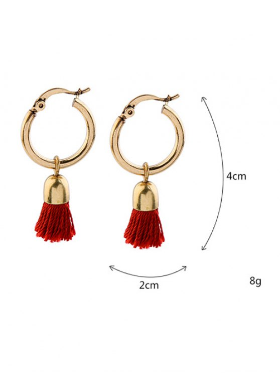 Vintage Tassel Circle Drop Earrings - RED  Mobile