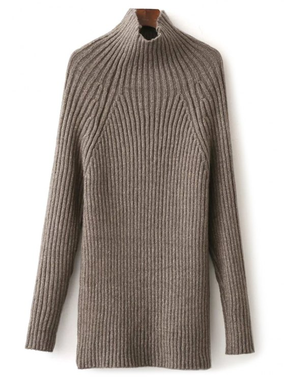 Tight Raglan Sleeve Ribbed Sweater - KHAKI ONE SIZE Mobile